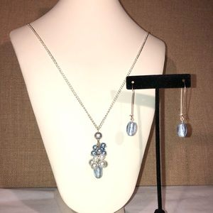 🆕Handmade Oversized Blue Necklace and Earring Set